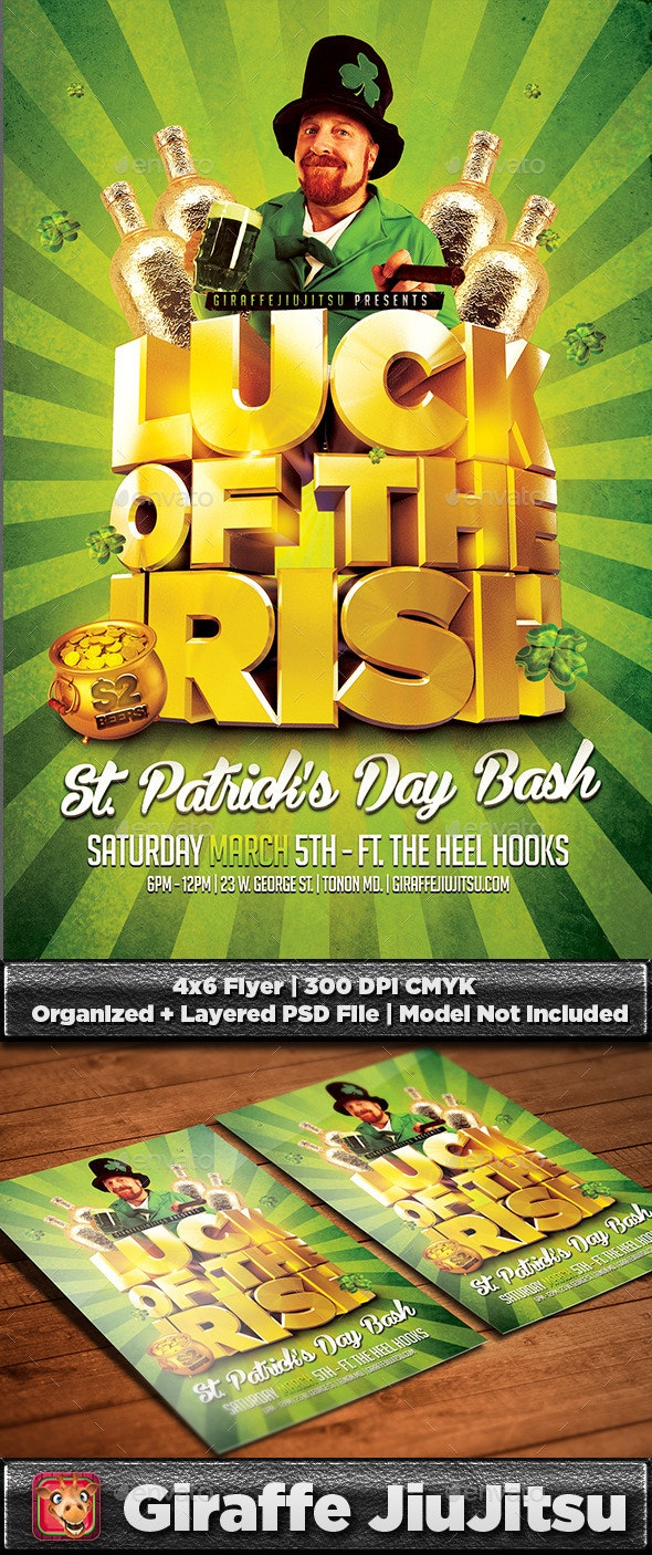 Luck of the Irish St. Patrick's Day Flyer Template - Holidays Events
