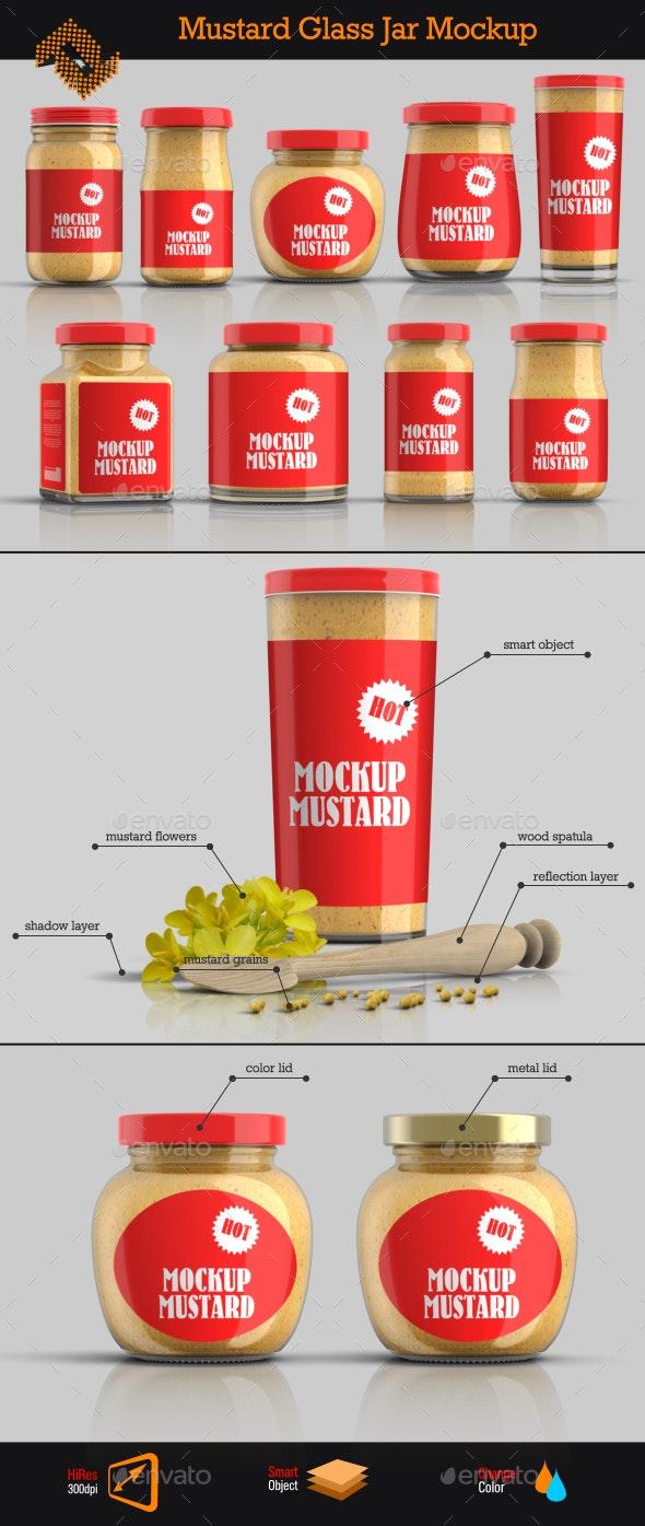 9 Mustard Jars Mockup - Food and Drink Packaging