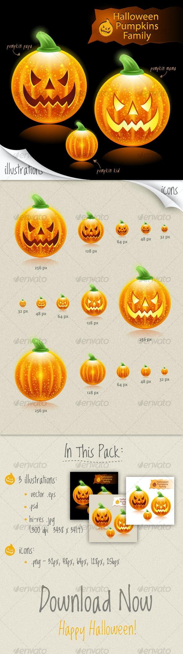 Halloween pumpkins family icons - Halloween Seasons/Holidays
