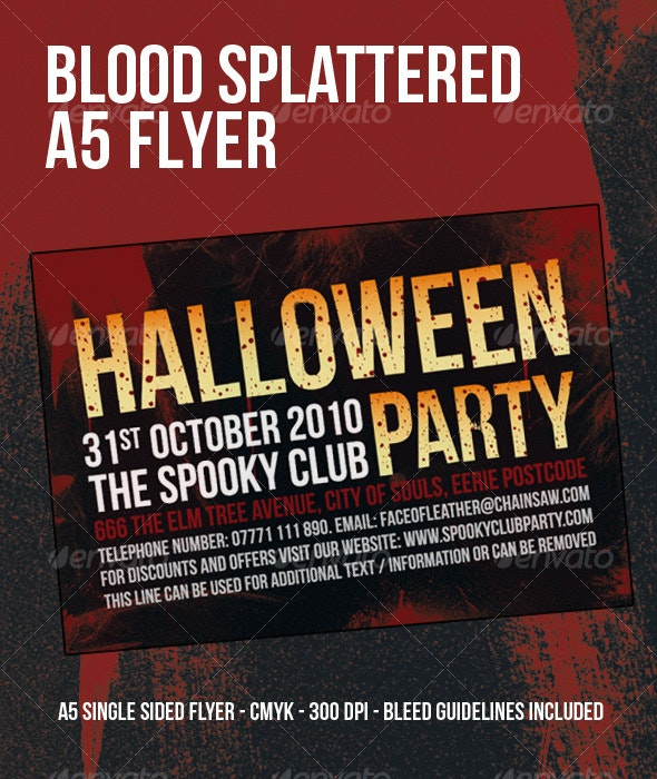 Blood Splattered Halloween Party Flyer - Clubs & Parties Events