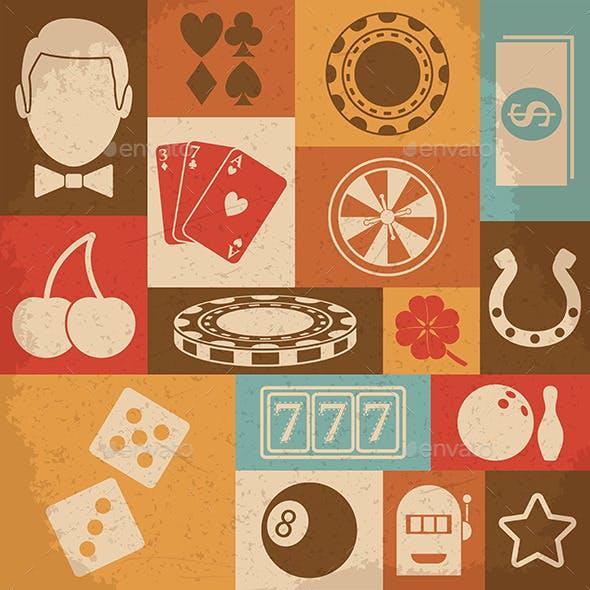 Casino Retro Icons Set