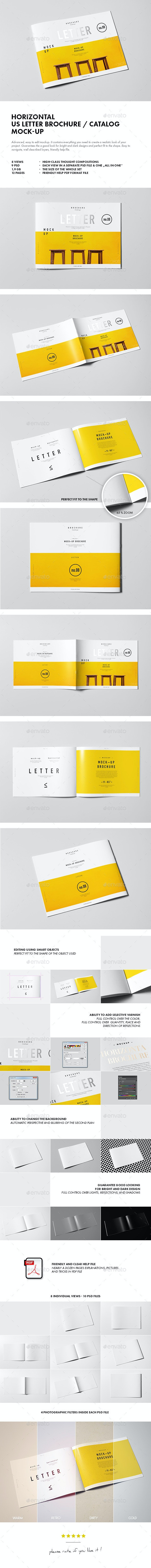 Horizontal US Letter Brochure Mock-up - Brochures Print