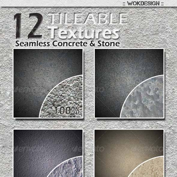 12 Seamless Tileable Concrete and Stone Textures