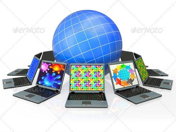 Globe and Laptop - Monitors Displays