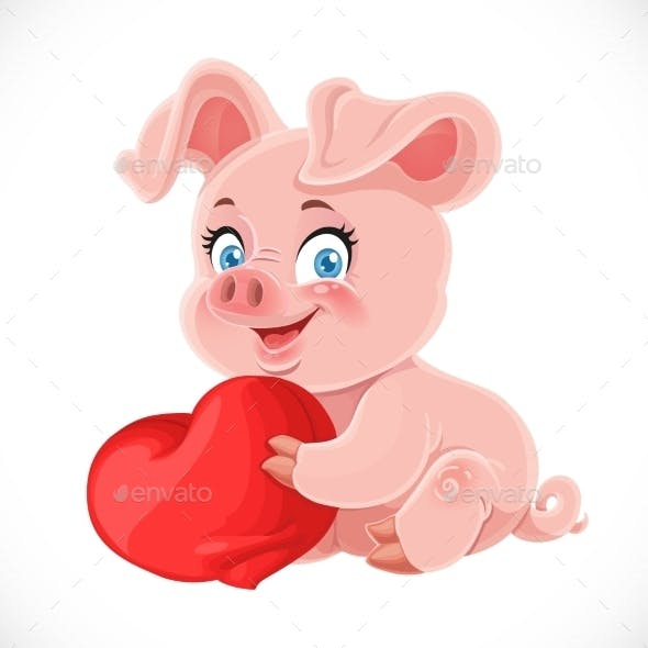 Cartoon Pig Hugging a Heart