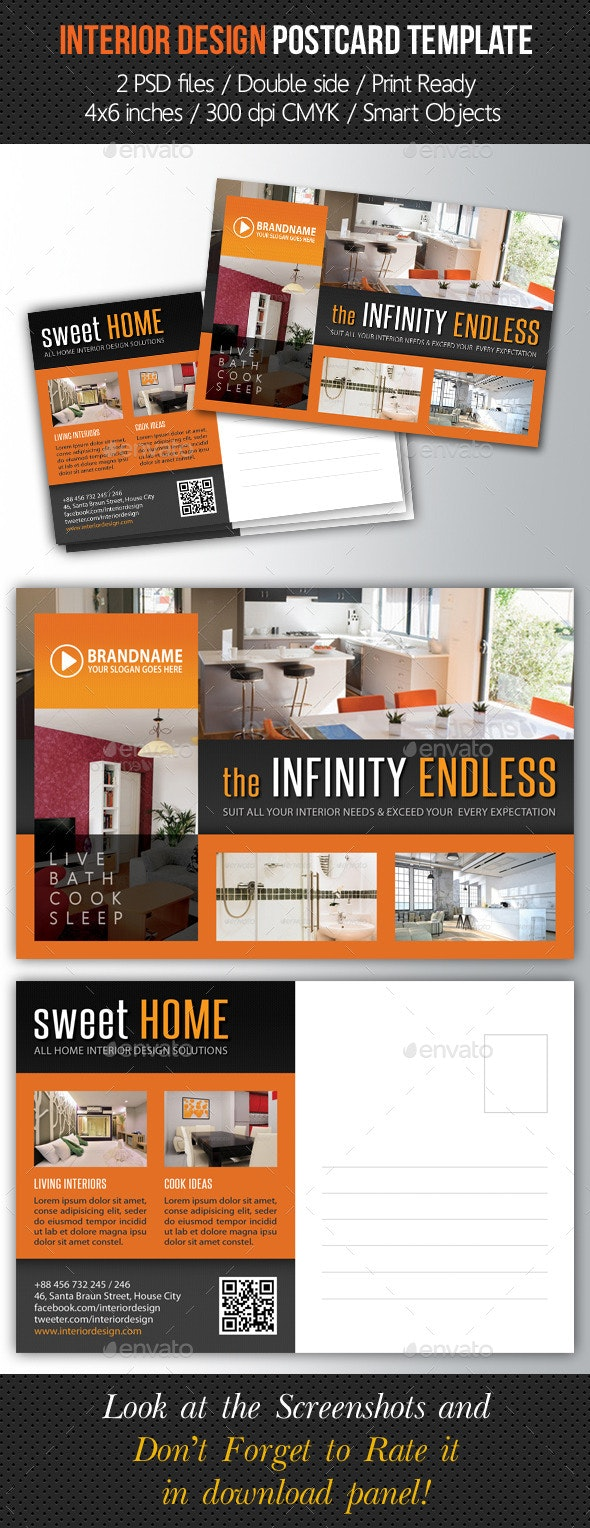 Interior Design Postcard Template V05 - Cards & Invites Print Templates