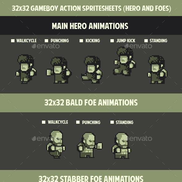32 x 32 Gameboy Spritesheets ( Hero and Foes )