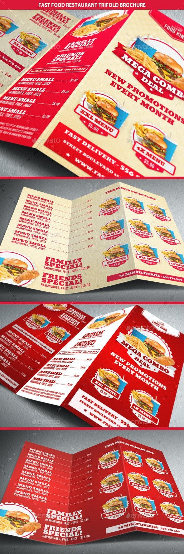 Restaurant Fast Food Menu Trifold Brochure - Brochures Print Templates