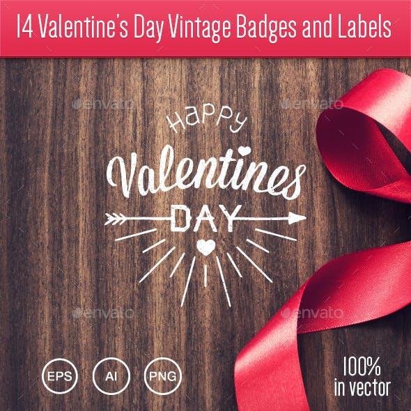 14 Valentine's Day Vintage Badges and Labels