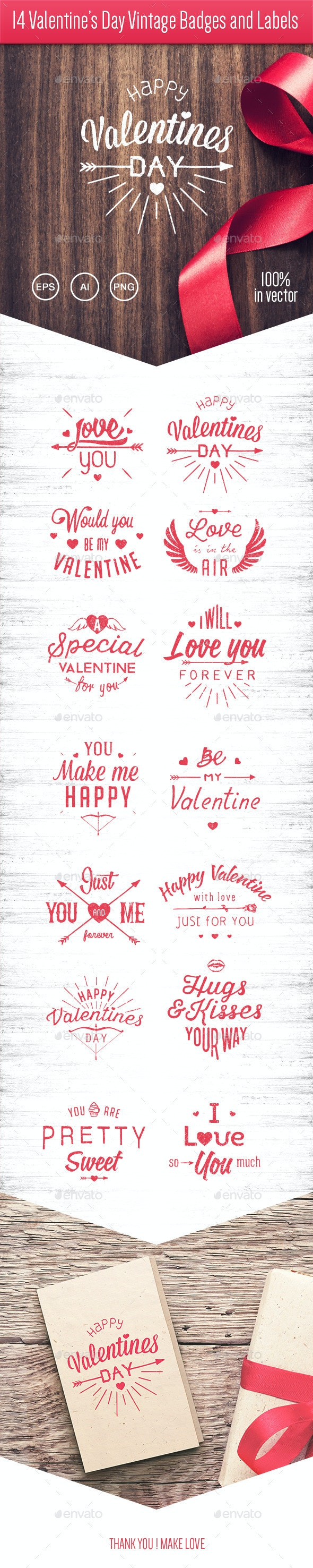 14 Valentine's Day Vintage Badges and Labels - Valentines Seasons/Holidays