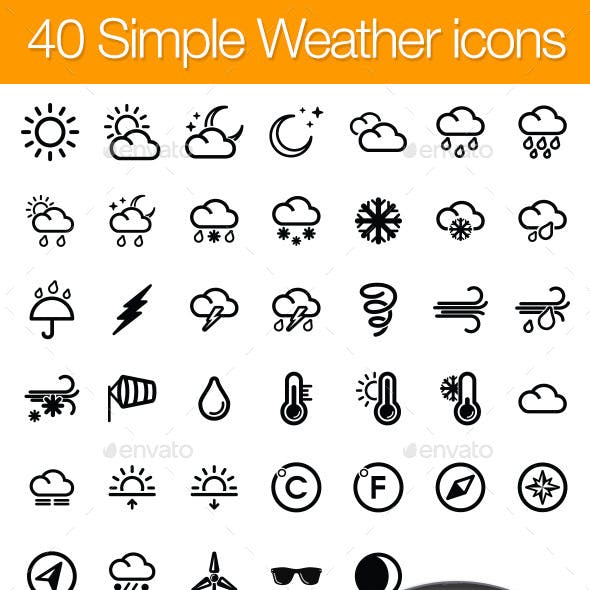 40 Simple icons WEATHER