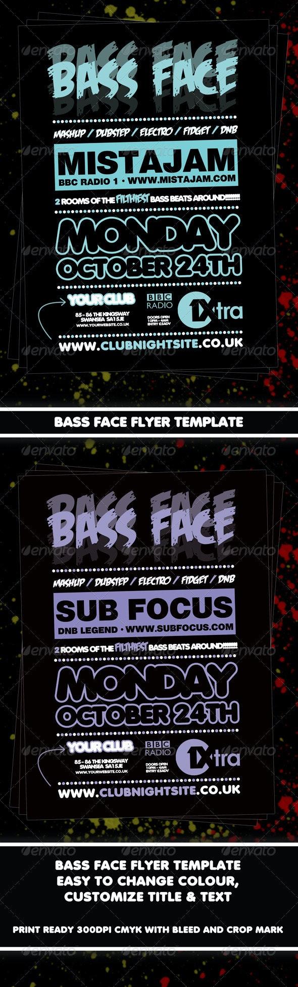 Bass Face Flyer Template - Clubs & Parties Events