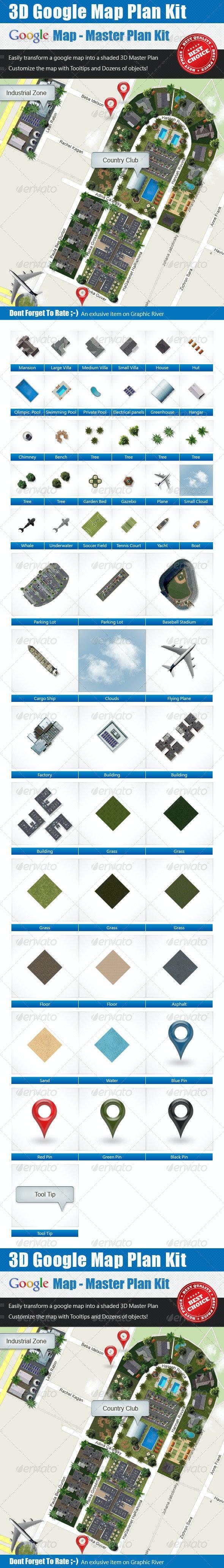 3D Master Plan Kit - Google Map  - Miscellaneous Graphics