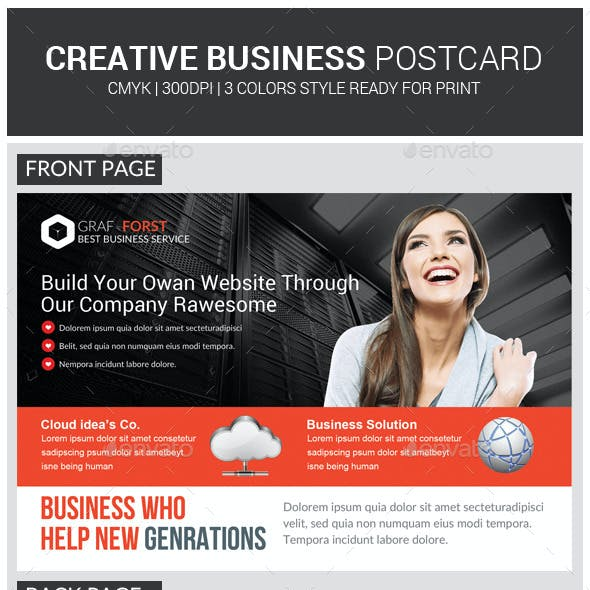 Web Hosting Business Postcard Template