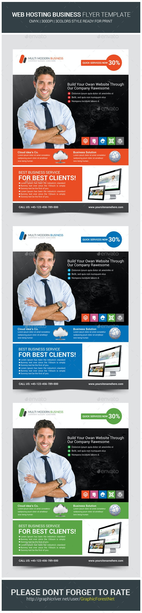 Web Hosting Business Flyer Templates - Corporate Flyers