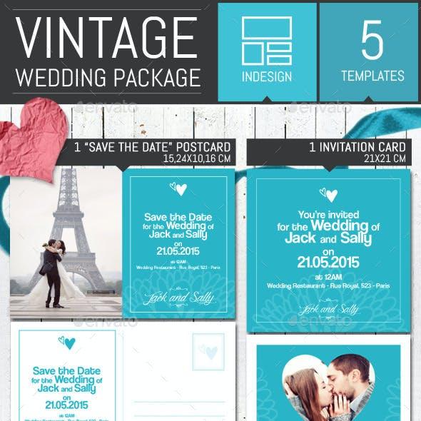 Vintage Wedding Invitation Pack Template