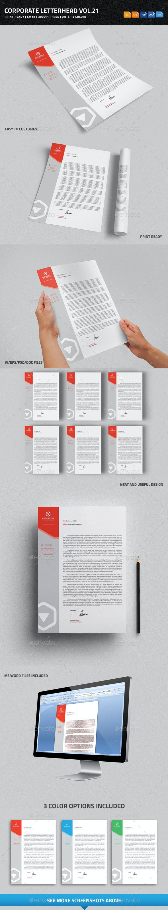 Corporate Letterhead vol.21 with MS Word DOC/DOCX - Stationery Print Templates