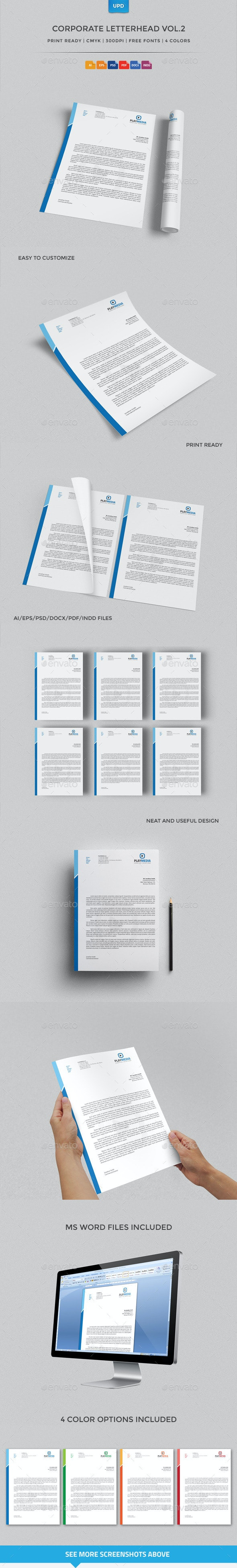 Corporate Letterhead Vol.2 with MS Word Doc - Stationery Print Templates