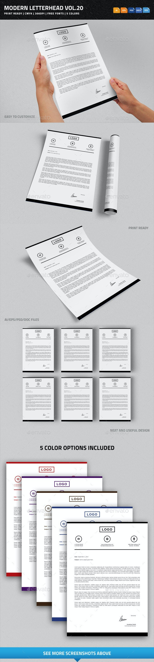 Modern Letterhead vol.20 with MS Word DOC/DOCX - Stationery Print Templates