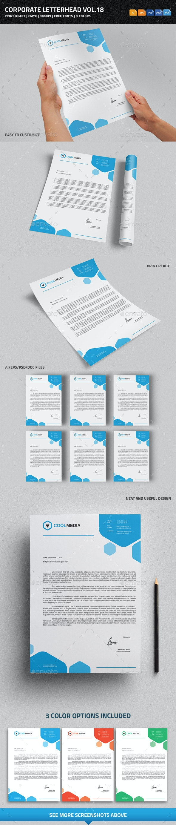 Corporate Letterhead Vol.18 with MS Word DOC/DOCX - Stationery Print Templates