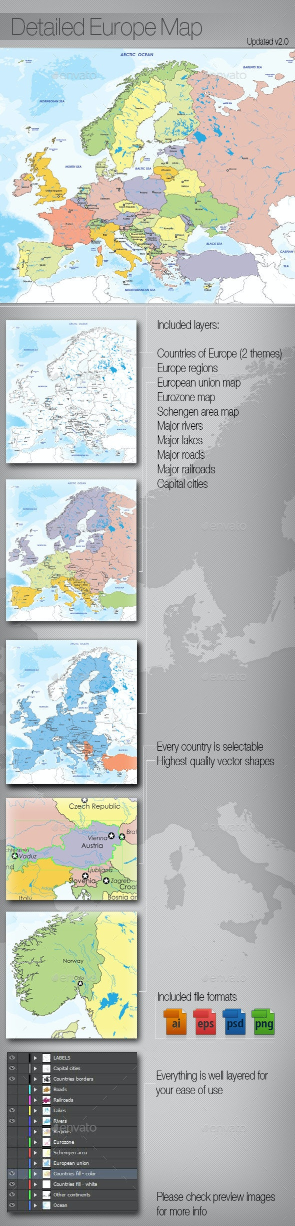 Detailed Map of Europe - Miscellaneous Backgrounds