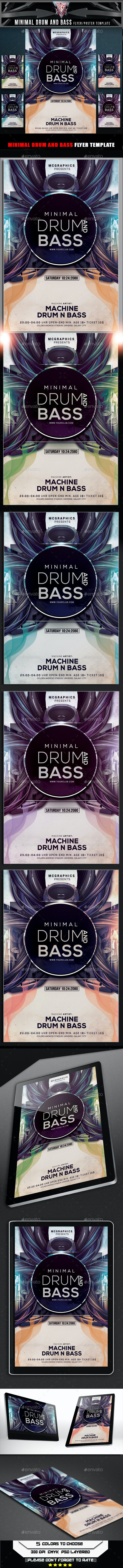 Minimal Drum and Bass Flyer Template - Flyers Print Templates