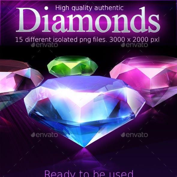 Various shiny diamonds