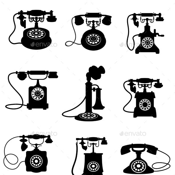 Silhouette of Vintage Telephones