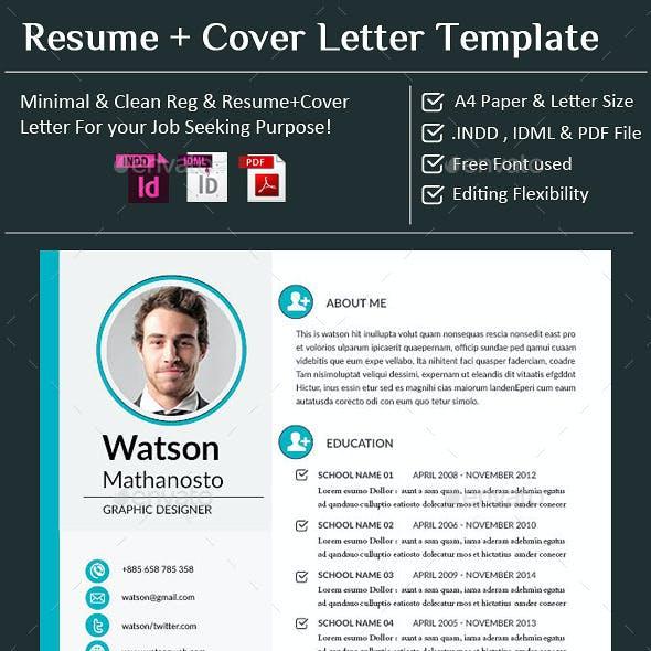 CV / Resume + Cover Letter - InDesign