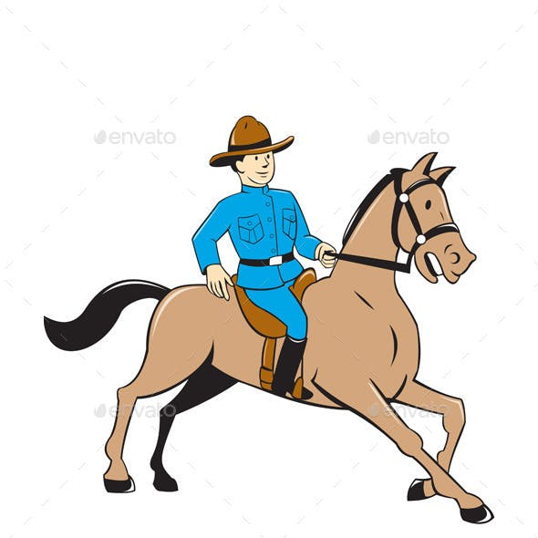 Mounted Police Officer Riding Horse Cartoon