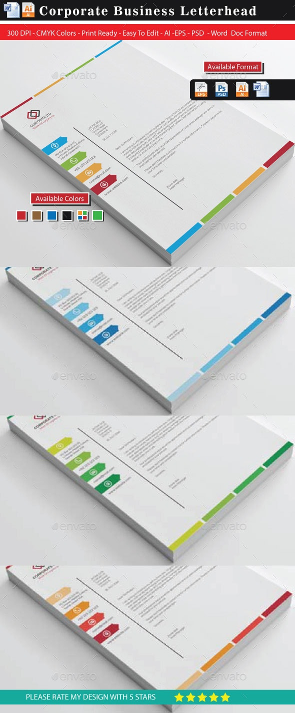 Colourful Business Letterheads(Updated) - Stationery Print Templates