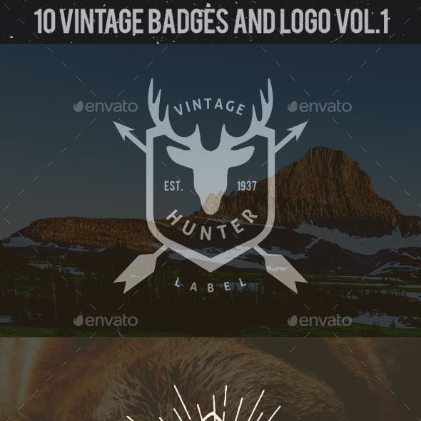 10 Hunting Vintage Badges and Logos Vol.1