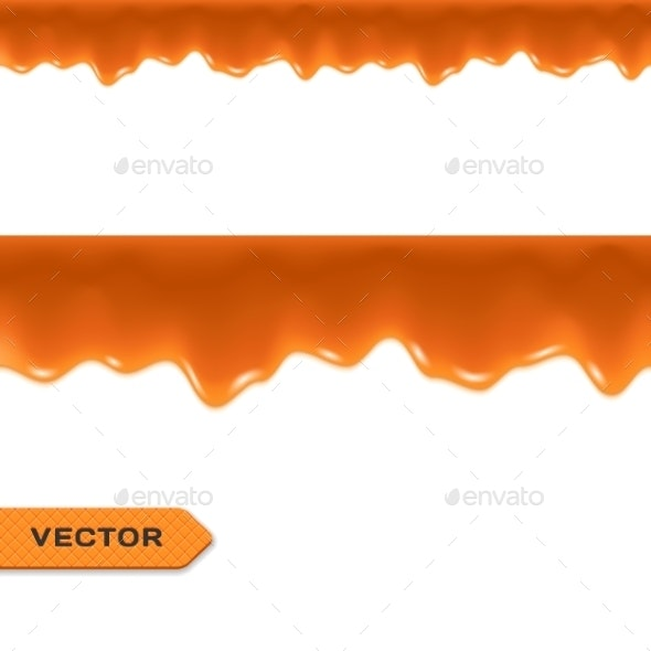 Caramel Drips Seamless Border - Borders Decorative