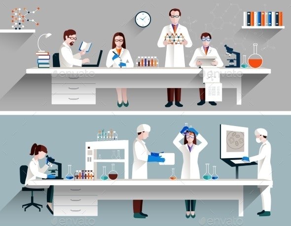 Scientists in Lab Concept - Backgrounds Decorative