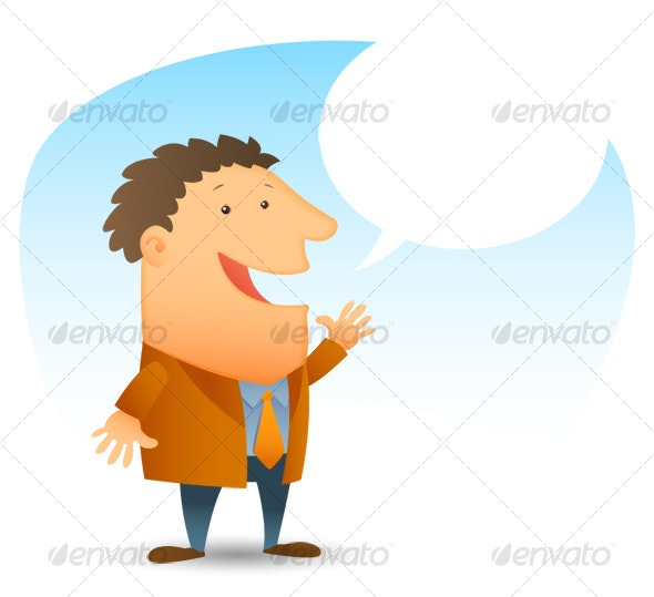 Young Man Talking - People Illustrations