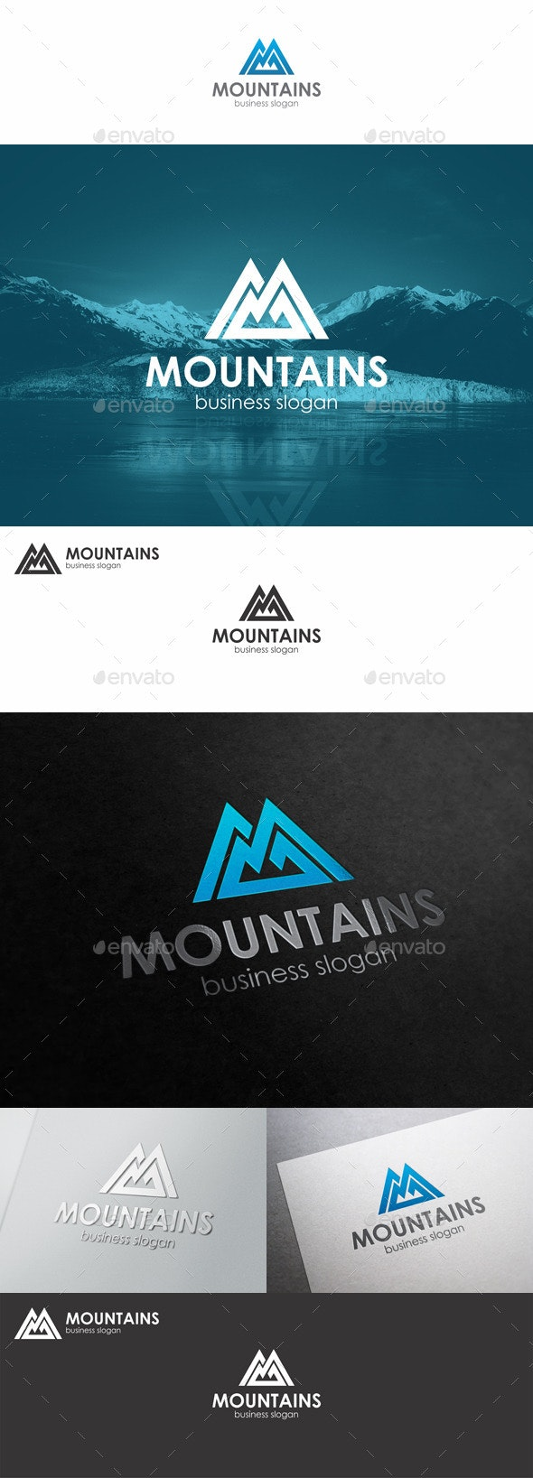 Mountains Logo Monogram M Letter - Nature Logo Templates