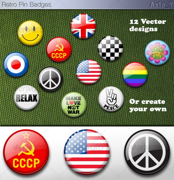 Vector Retro Pin Badges - Man-made Objects Objects