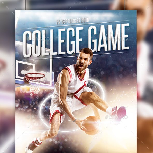 College Basketball Game Flyer Template