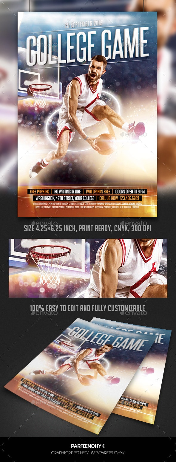 College Basketball Game Flyer Template - Sports Events