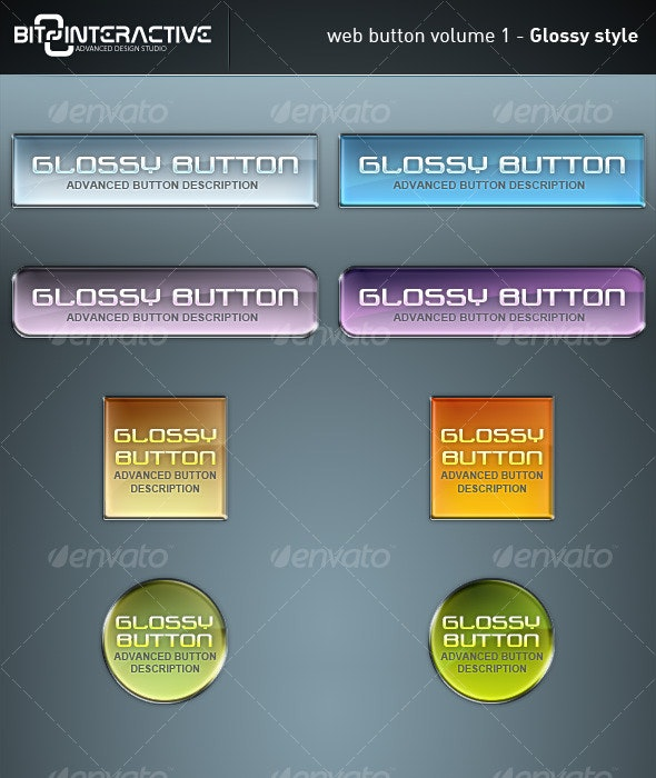 Web Button Volume 1 - Glossy Style - Buttons Web Elements