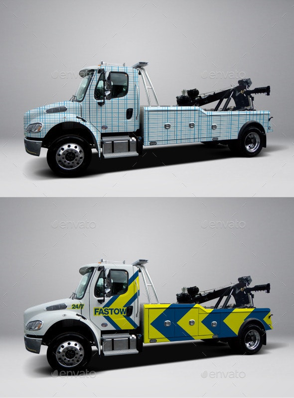 2013 Freightliner Heavy Tow Truck Wrap Mockup - Vehicle Wraps Print