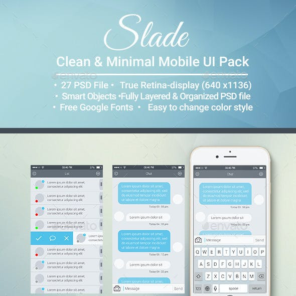 Slade Clean & Minimal  Mobile UI pack