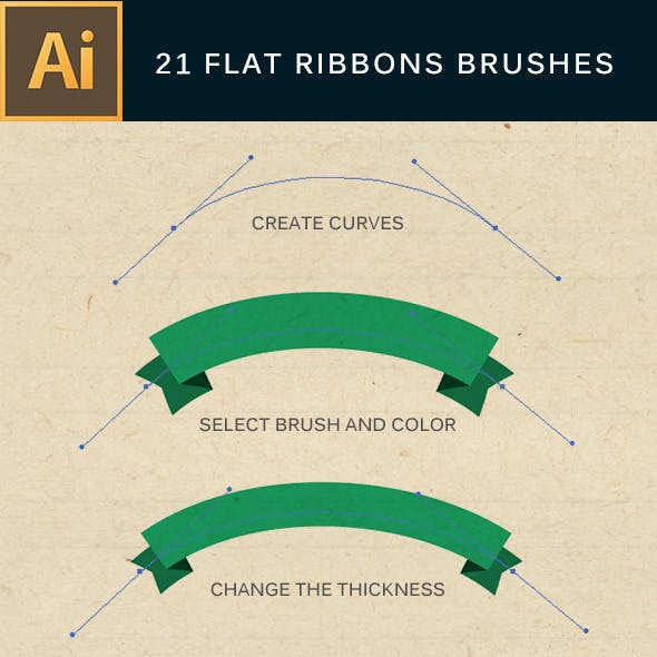 21 Flat Ribbons Brushes Set