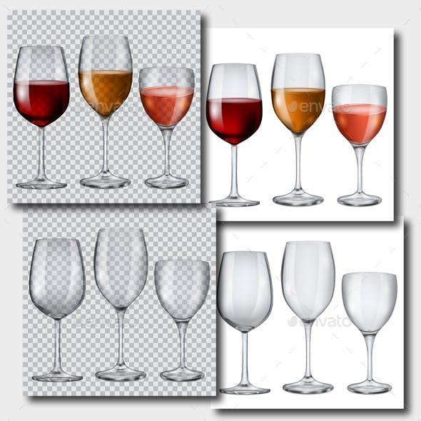 Transparent Glasses with Wine and Without
