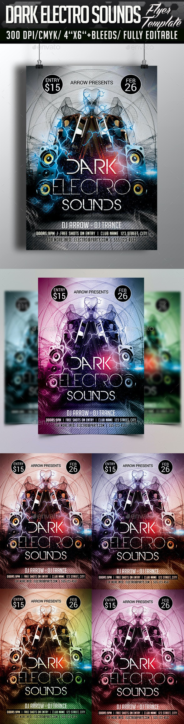 Dark Electro Sounds Flyer Template - Clubs & Parties Events
