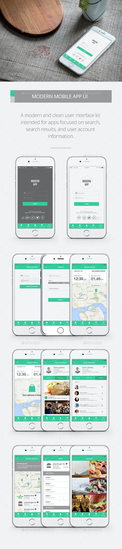 Modern Mobile App UI Kit - User Interfaces Web Elements