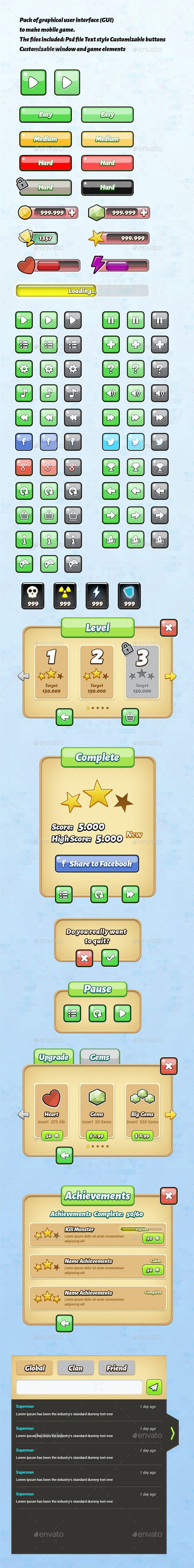 Mobile Game Gui - Vol 1 - User Interfaces Web Elements