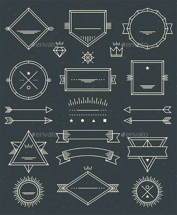 Line Badges, Emblems and Design Elements - Decorative Vectors