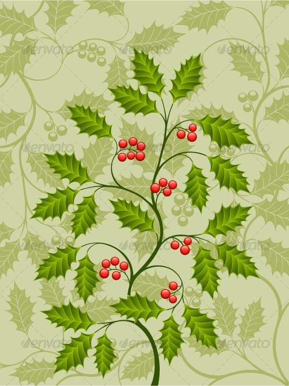 Abstract background with a holly branch - Flowers & Plants Nature