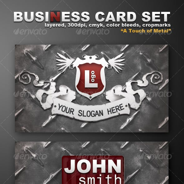 """Business Card Template """"A Touch Of Metal"""""""